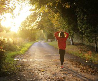 Woman finishing morning workouts