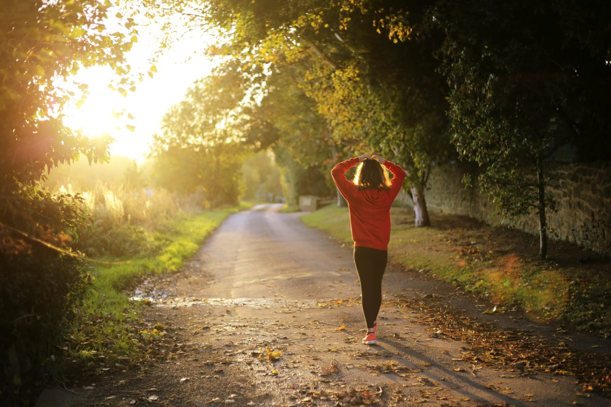 Woman finishing morning workouts